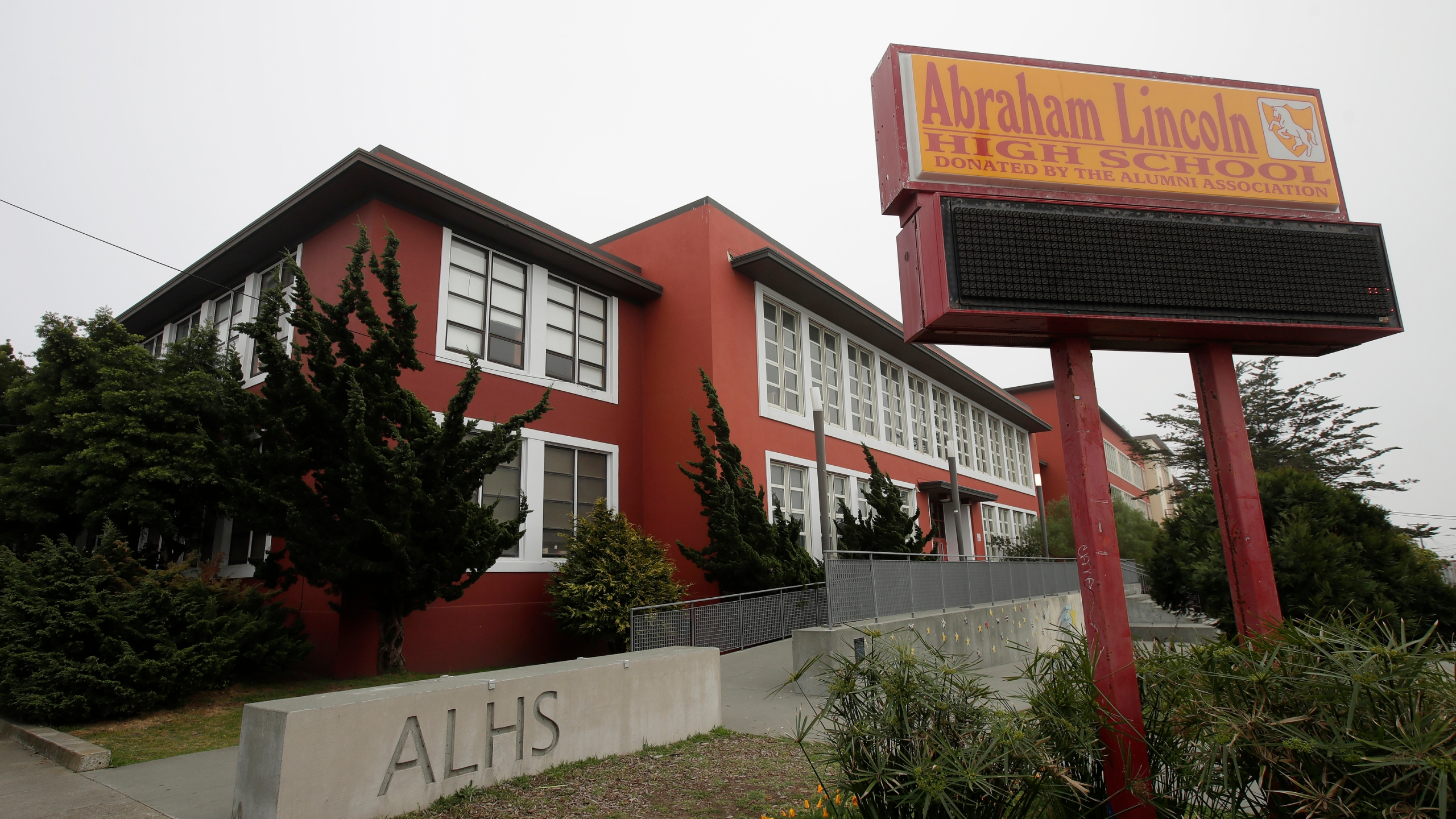 This March 12, 2020, file photo, shows the Abraham Lincoln High School in San Francisco. (AP Photo/Jeff Chiu, File)