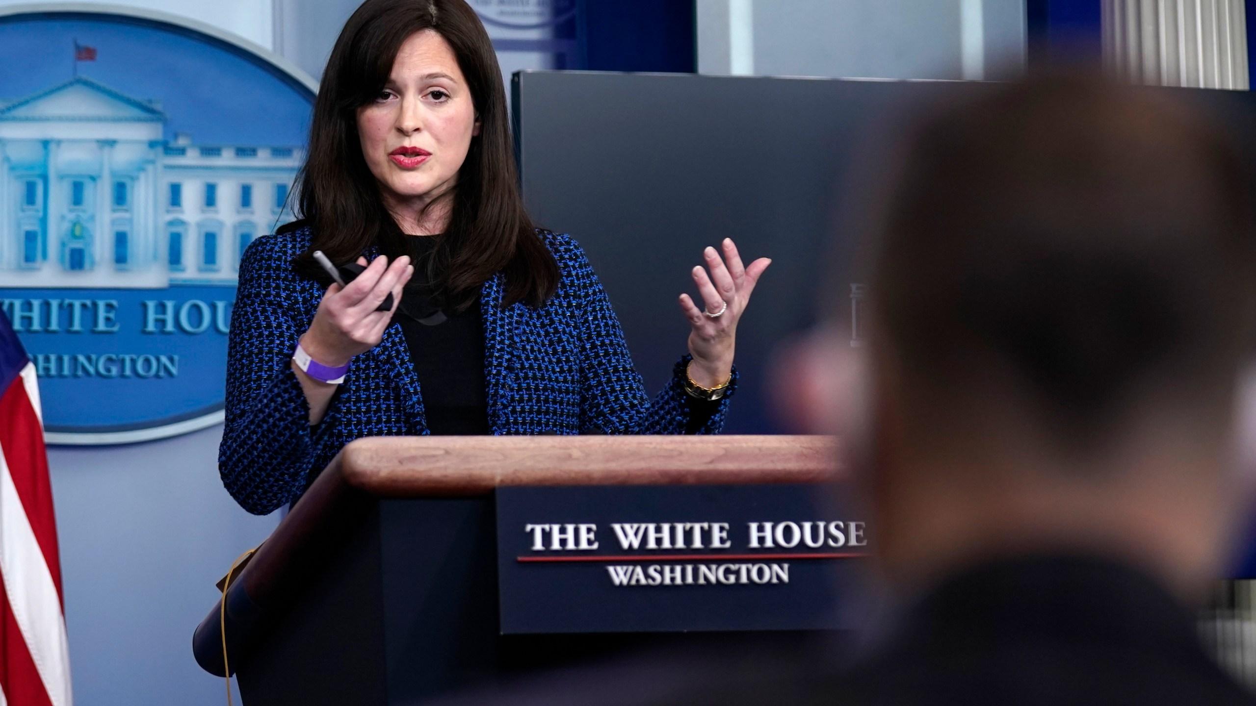 White House deputy national security adviser Anne Neuberger speaks during a press briefing on Feb. 17, 2021, in Washington. (AP Photo/Evan Vucci)
