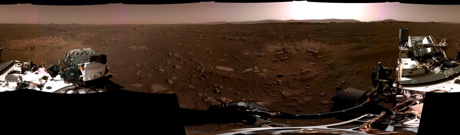 This composite image made available by NASA on Feb. 22, 2021 produced from photos by the Perseverance Mars rover, shows the surface of Mars. It landed on Feb. 18. (NASA/JPL-Caltech via AP)