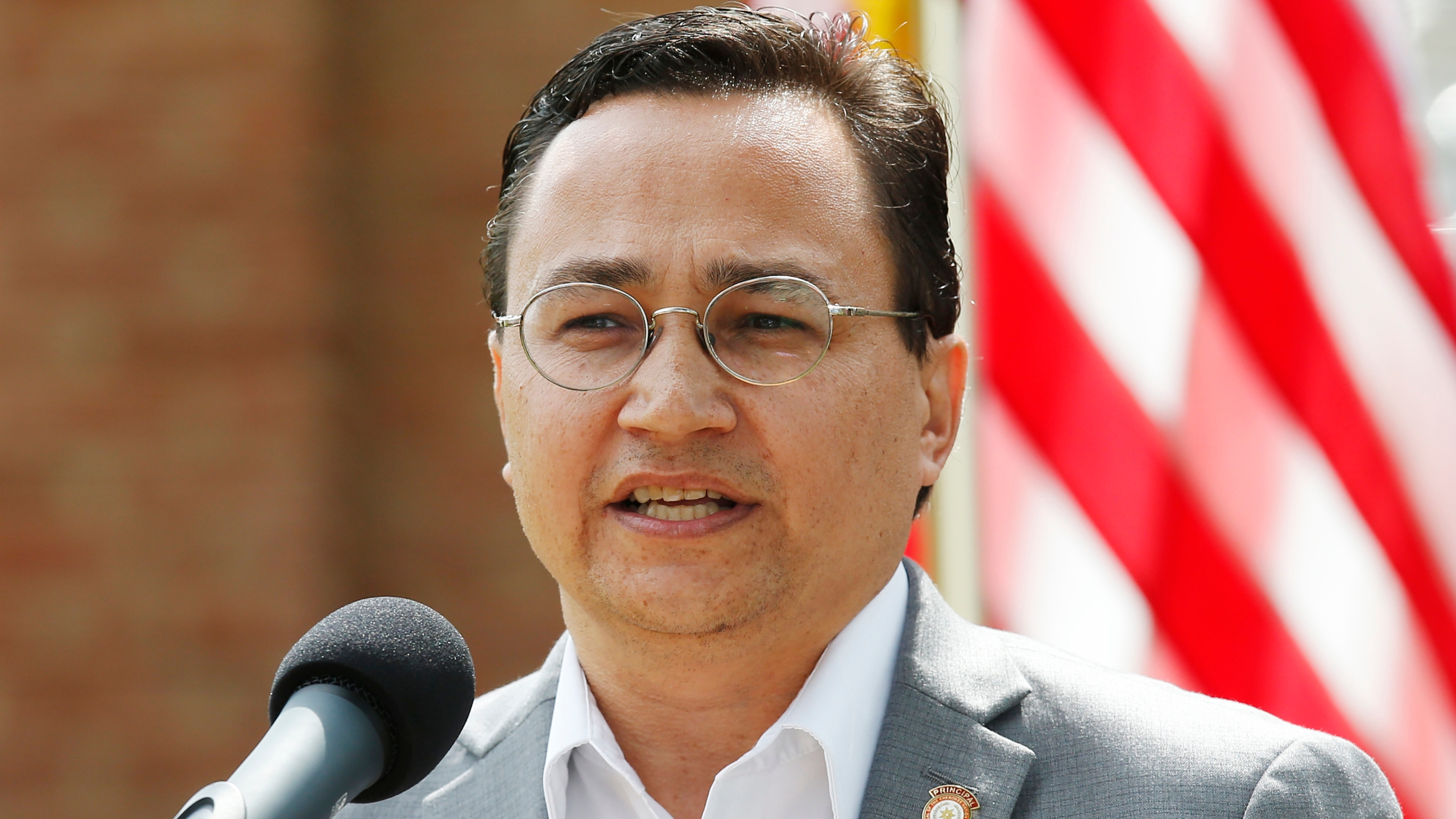 Cherokee Nation Principal Chief Chuck Hoskin Jr. speaks during a news conference in Tahlequah, Okla., on Aug. 22, 2019. (Sue Ogrocki / Associated Press)