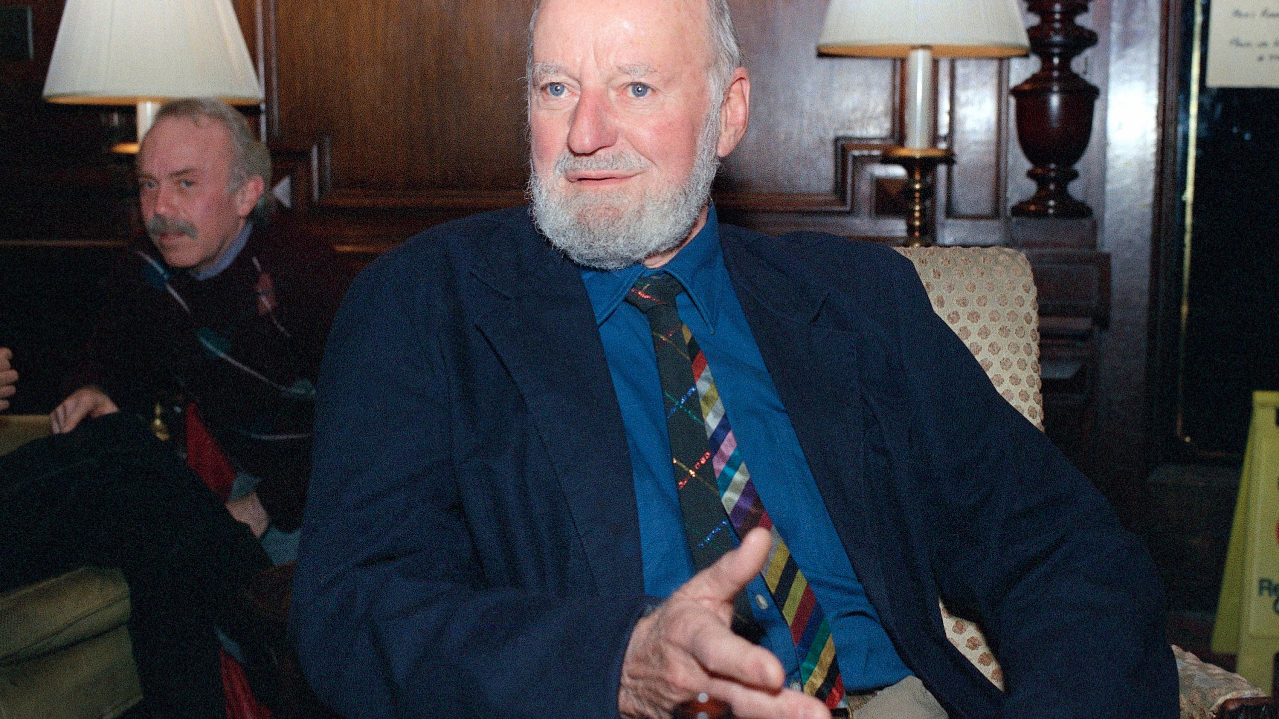 Author Lawrence Ferlinghetti appears in Oct. 8, 1988. Ferlinghetti, a poet, publisher and bookseller has died in San Francisco at age 101. (AP Photo/Frankie Ziths)