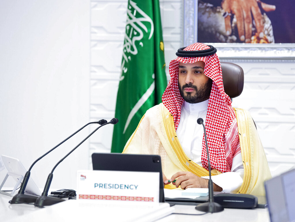 In this Nov. 22, 2020, file photo, Saudi Arabia's Crown Prince Mohammed bin Salman attends a virtual G-20 summit held over video conferencing, in Riyadh, Saudi Arabia. (Bandar Aljaloud/Saudi Royal Palace via AP, File)