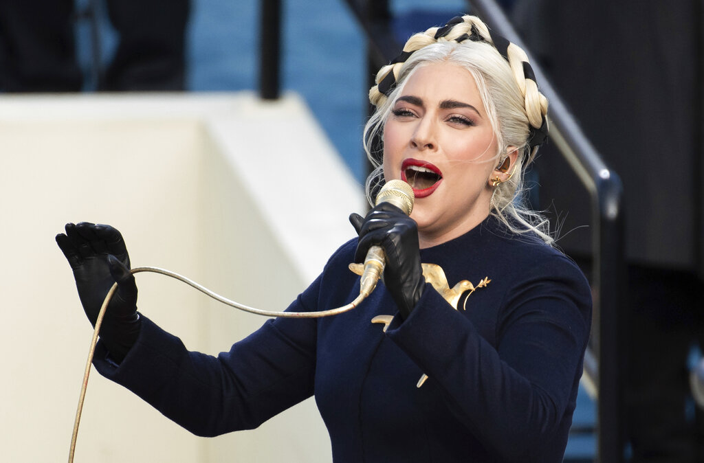 Lady Gaga sings the national anthem during President-elect Joe Biden's inauguration at the U.S. Capitol in Washington on Jan. 20, 2021. (Saul Loeb/Pool Photo via AP, File)