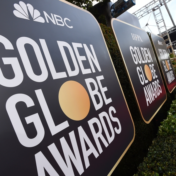 Event signage appears above the red carpet at the 77th annual Golden Globe Awards, on Jan. 5, 2020, in Beverly Hills, Calif. (Jordan Strauss/Invision/AP, File)