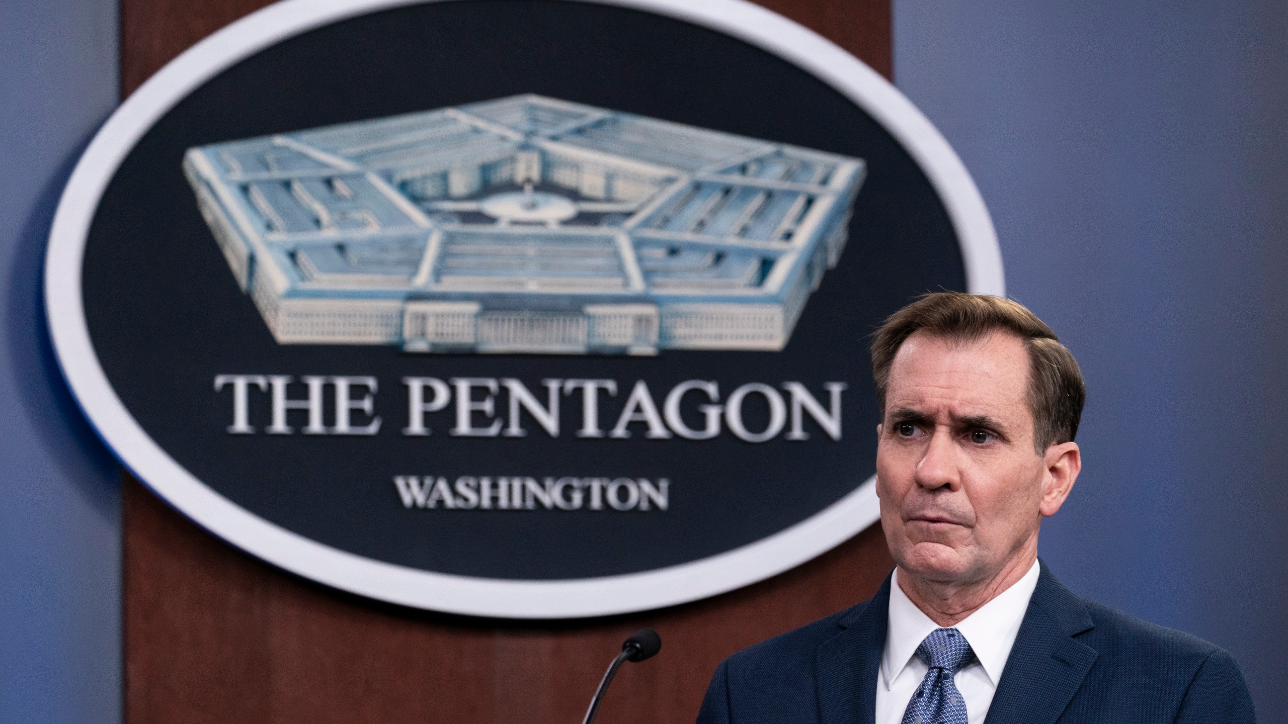 In this Wednesday, Feb. 17, 2021, file photo, Pentagon spokesman John Kirby speaks during a media briefing at the Pentagon, in Washington. Kirby announced late Thursday, Feb. 25, 2021, that the U.S. military conducted airstrikes against facilities in eastern Syria that the Pentagon said were used by Iran-backed militia groups, in response to recent attacks against U.S. personnel in Iraq. Kirby said the action was authorized by President Joe Biden. (AP Photo/Alex Brandon, File)