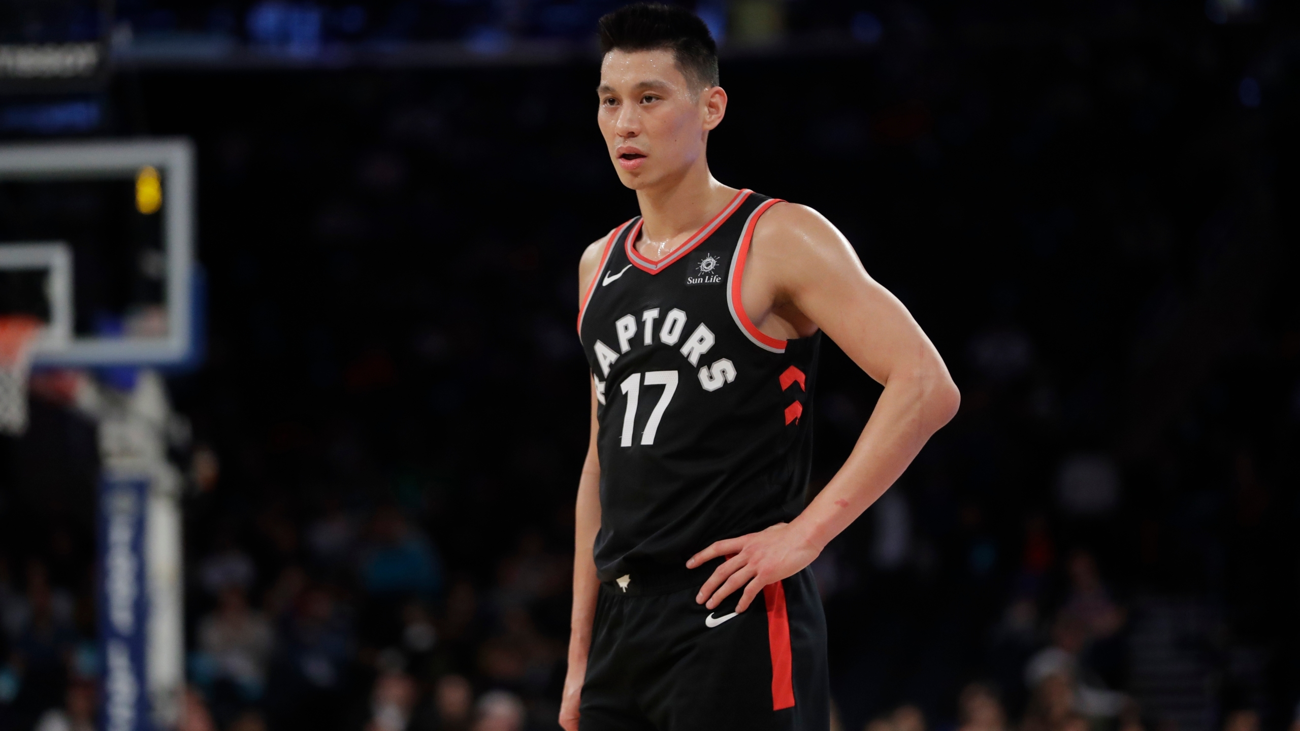 In this March 28, 2019, file photo, Toronto Raptors' Jeremy Lin stands on the court during the second half of the team's NBA basketball game against the New York Knicks in New York. (AP Photo/Frank Franklin II, File)