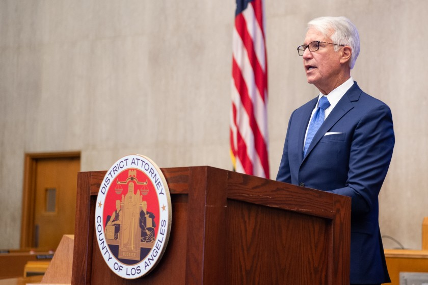 L.A. County District Attorney George Gascón delivers remarks after he taking the oath of office on Dec. 7, 2020, at the Kenneth Hahn Hall of Administration. (Bryan Chan / Los Angeles County)