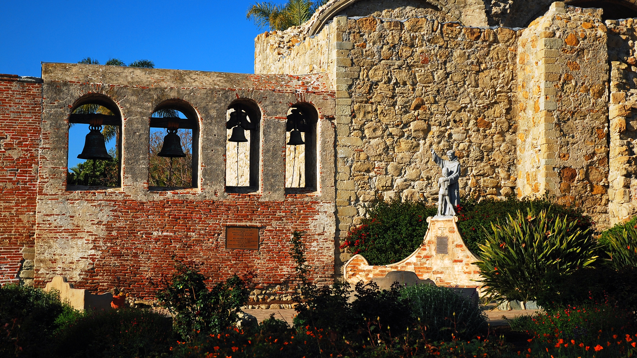 San Juan Capistrano, CA, USA March 25, 2008 A bell tower and stone wall are the only remaining pieces of the original Mission San Juan Capistrano in California. (Getty Images)