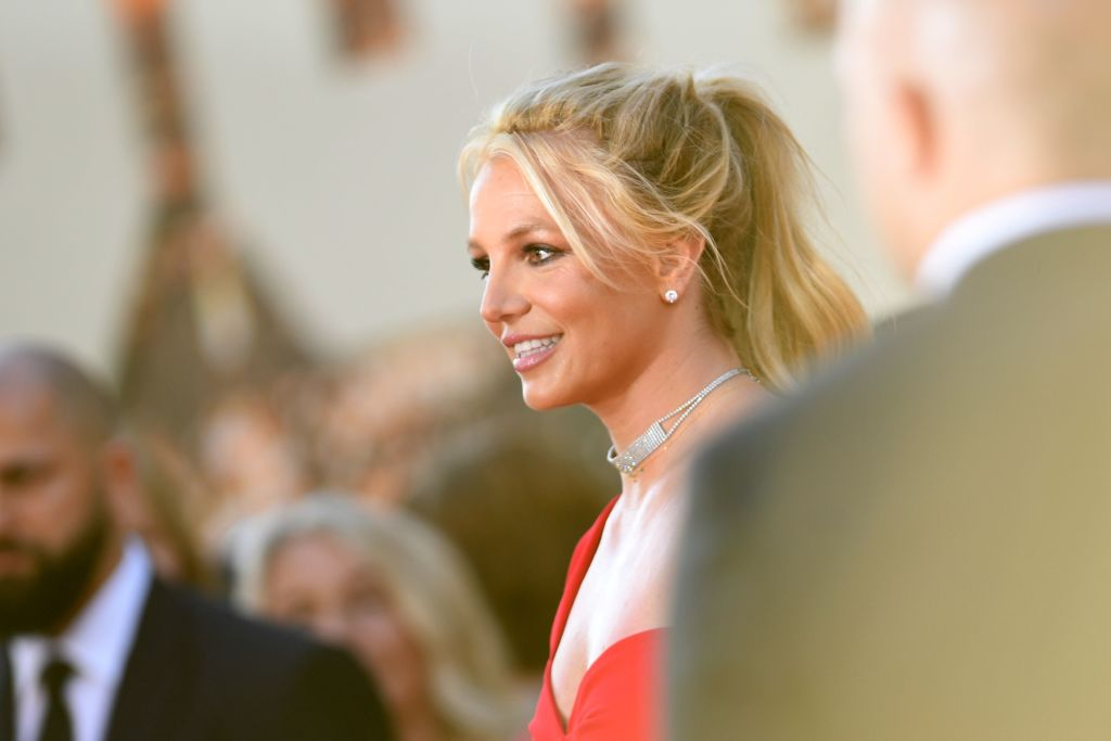 """Britney Spears arrives for the premiere of Sony Pictures' """"Once Upon a Time... in Hollywood"""" at the TCL Chinese Theatre in Hollywood on July 22, 2019. (VALERIE MACON / AFP / Getty Images)"""