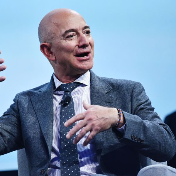 Jeff Bezos speaks after receiving the 2019 International Astronautical Federation (IAF) Excellence in Industry Award during the the 70th International Astronautical Congress at the Walter E. Washington Convention Center in Washington, D.C. on Oct. 22, 2019. (MANDEL NGAN/AFP via Getty Images)