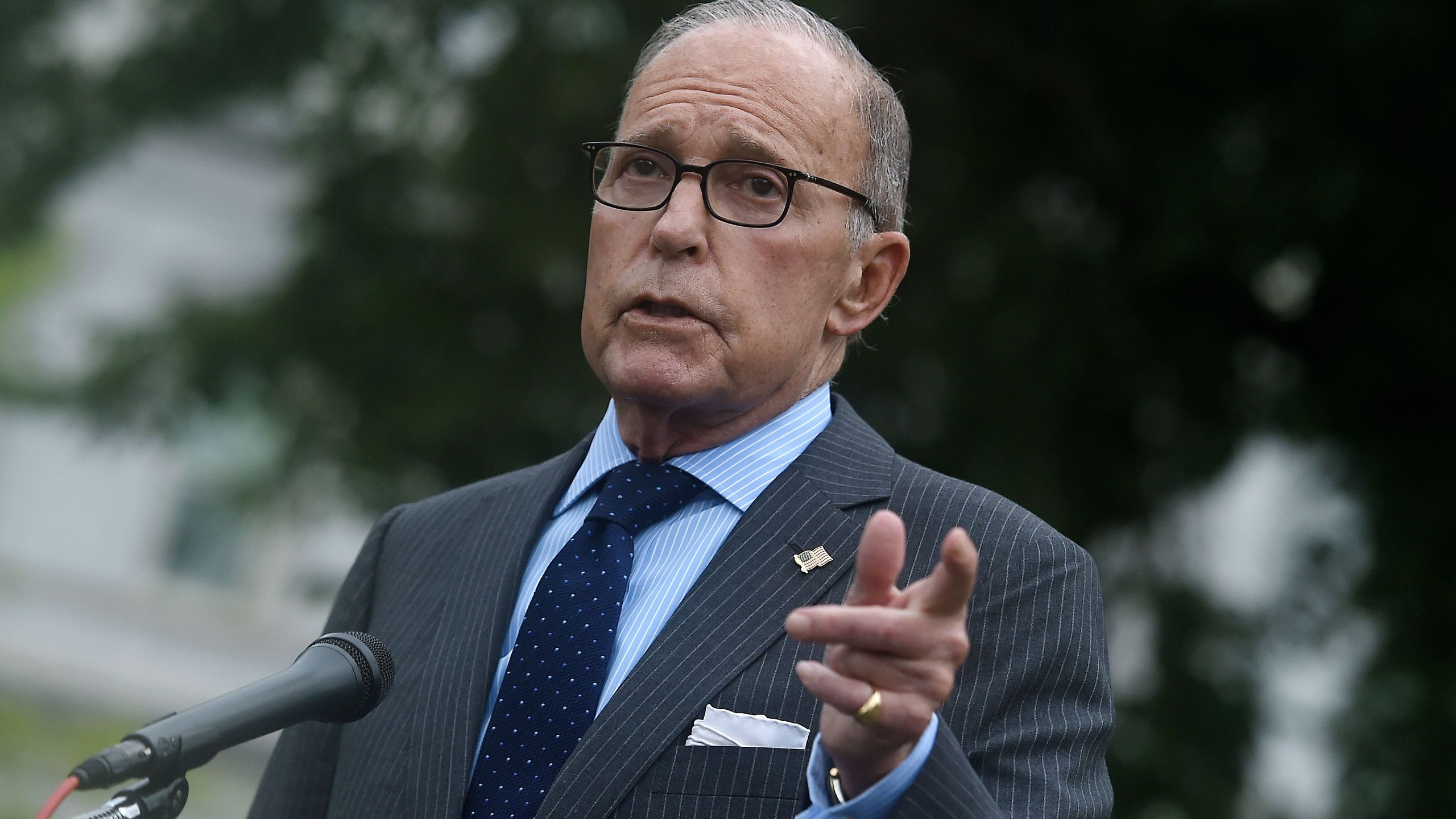 Director of the National Economic Council Larry Kudlow speaks to reporters outside the West Wing of the White House on Sept. 2, 2020. (Olivier DOULIERY/AFP via Getty Images)