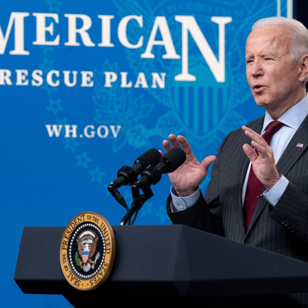 U.S. President Joe Biden speaks about the American Rescue Plan and the Paycheck Protection Program for small businesses in response to the coronavirus pandemic, in the Eisenhower Executive Office Building in Washington, D.C. on Feb. 22, 2021. (SAUL LOEB/AFP via Getty Images)