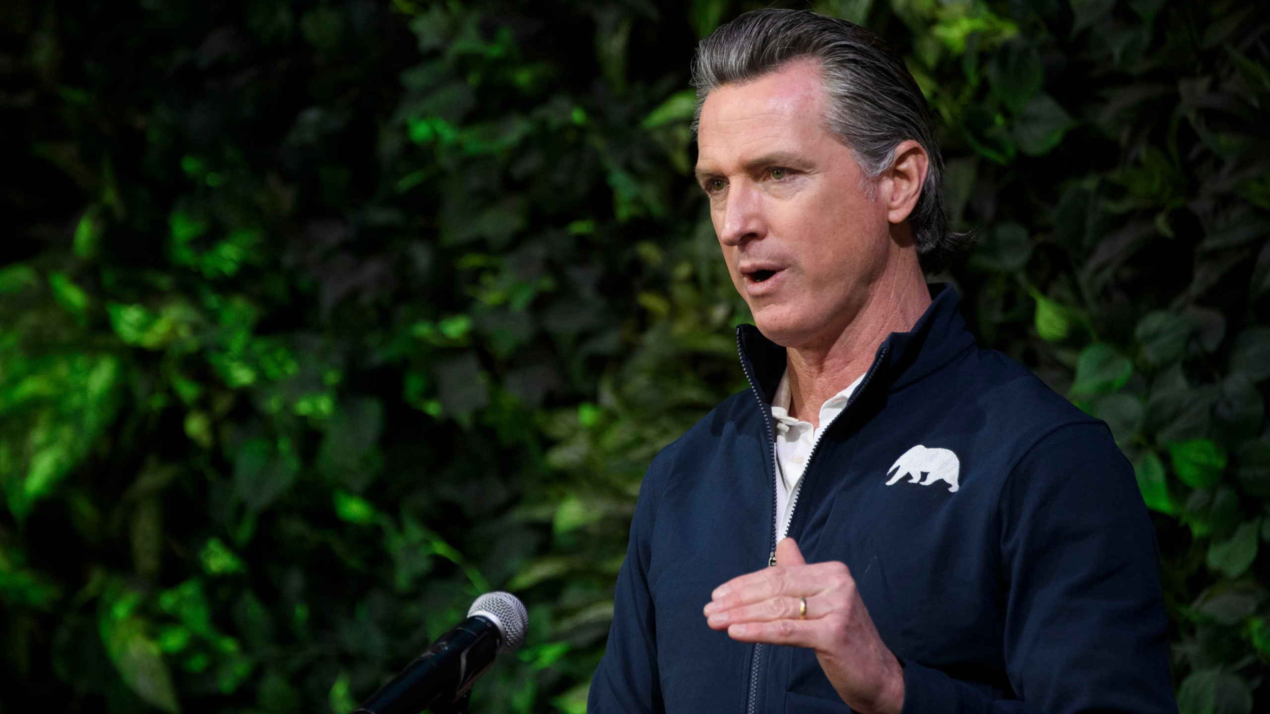 California Gov. Gavin Newsom speaks after touring a COVID-19 vaccination site in Long Beach on Feb. 22, 2021. (Patrick T. Fallon / AFP / Getty Images)