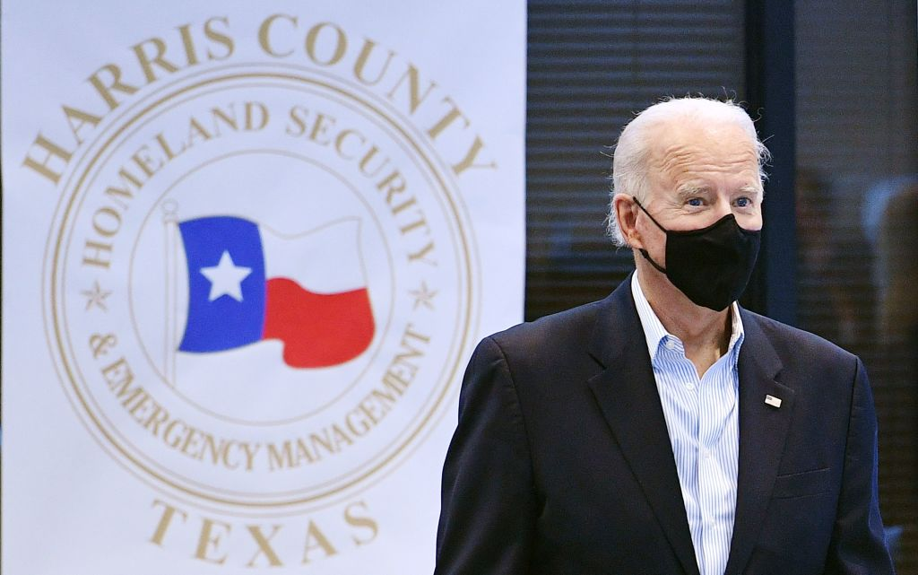 President Joe Biden arrives to tour the Harris County Emergency Operations Center in Houston, Texas on February 26, 2021. (MANDEL NGAN/AFP via Getty Images)