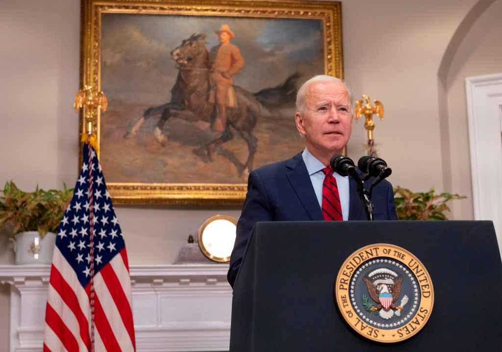 US President Joe Biden speaks about the American Rescue Plan from the Roosevelt Room of the White House in Washington, DC, on Feb. 27, 2021. (ANDREW CABALLERO-REYNOLDS/AFP via Getty Images)