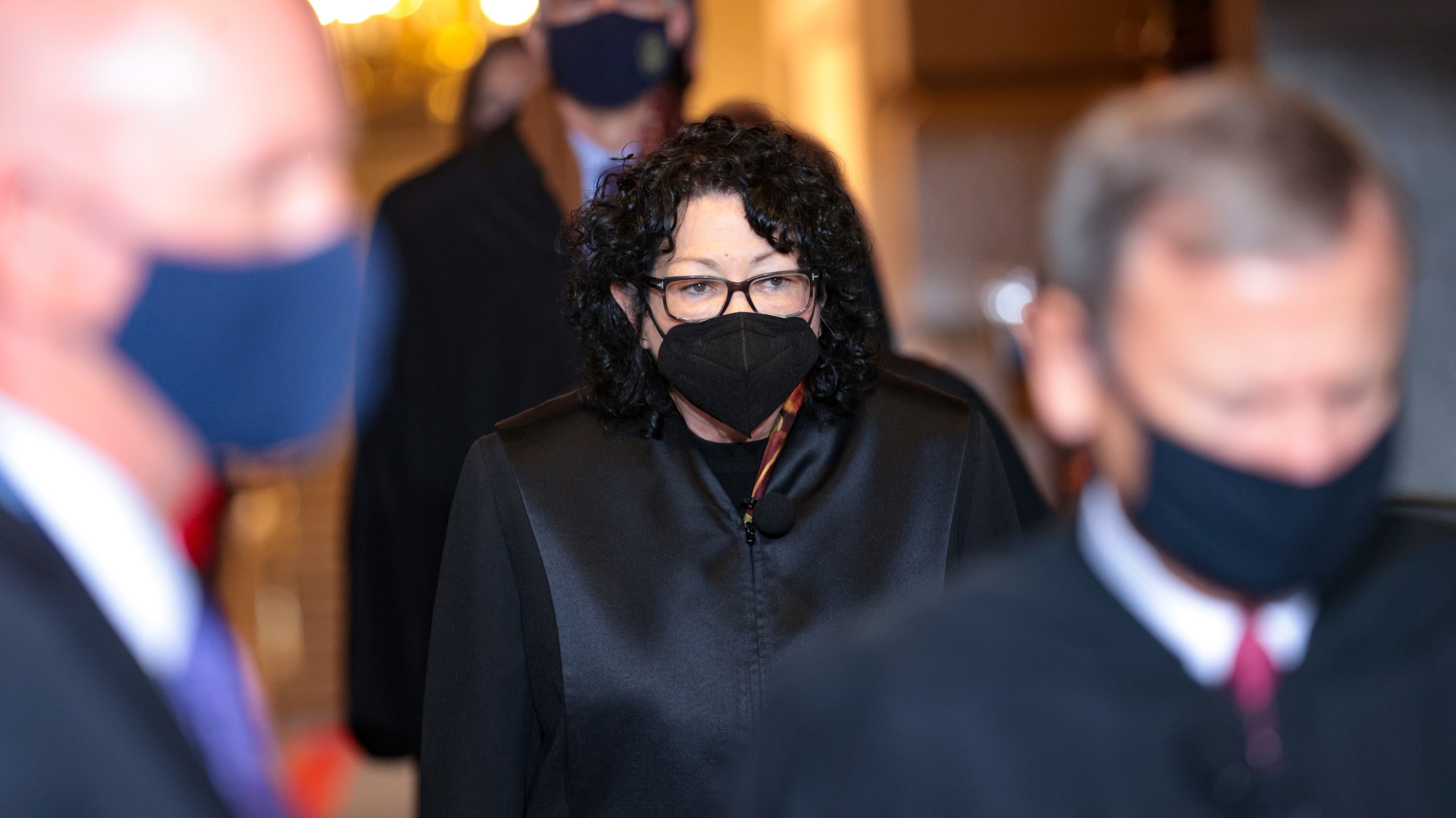 Supreme Court Associate Justice Sonia Sotomayor arrives to the inauguration of President Joe Biden on the West Front of the U.S. Capitol on January 20, 2021 in Washington, DC. (Win McNamee/Getty Images)