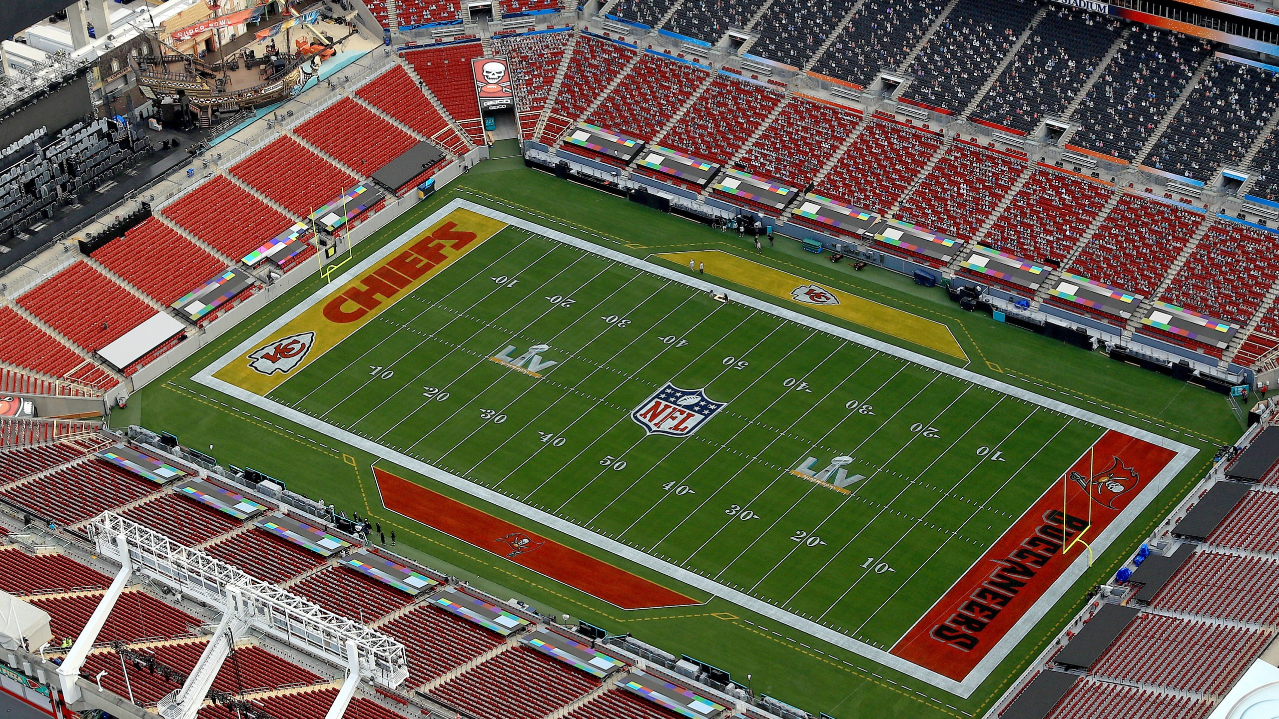 An aerial view of Raymond James Stadium ahead of Super Bowl LV on Jan. 31, 2021 in Tampa, Florida. (Mike Ehrmann/Getty Images)