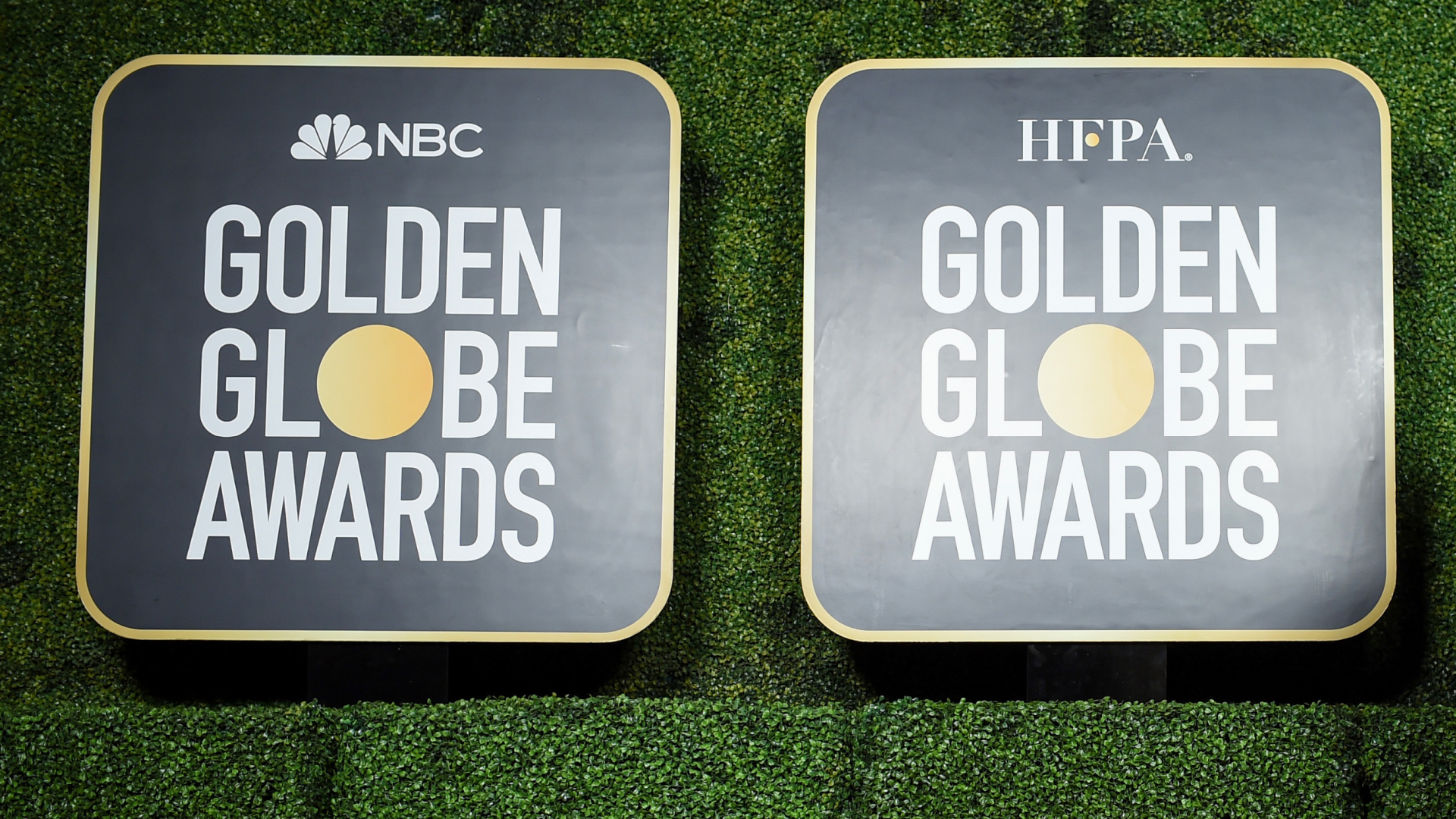 Signs for the 78th Annual Golden Globe® Awards are seen at The Rainbow Room on Feb. 28, 2021, in New York City. (Dimitrios Kambouris/Getty Images for Hollywood Foreign Press Association)