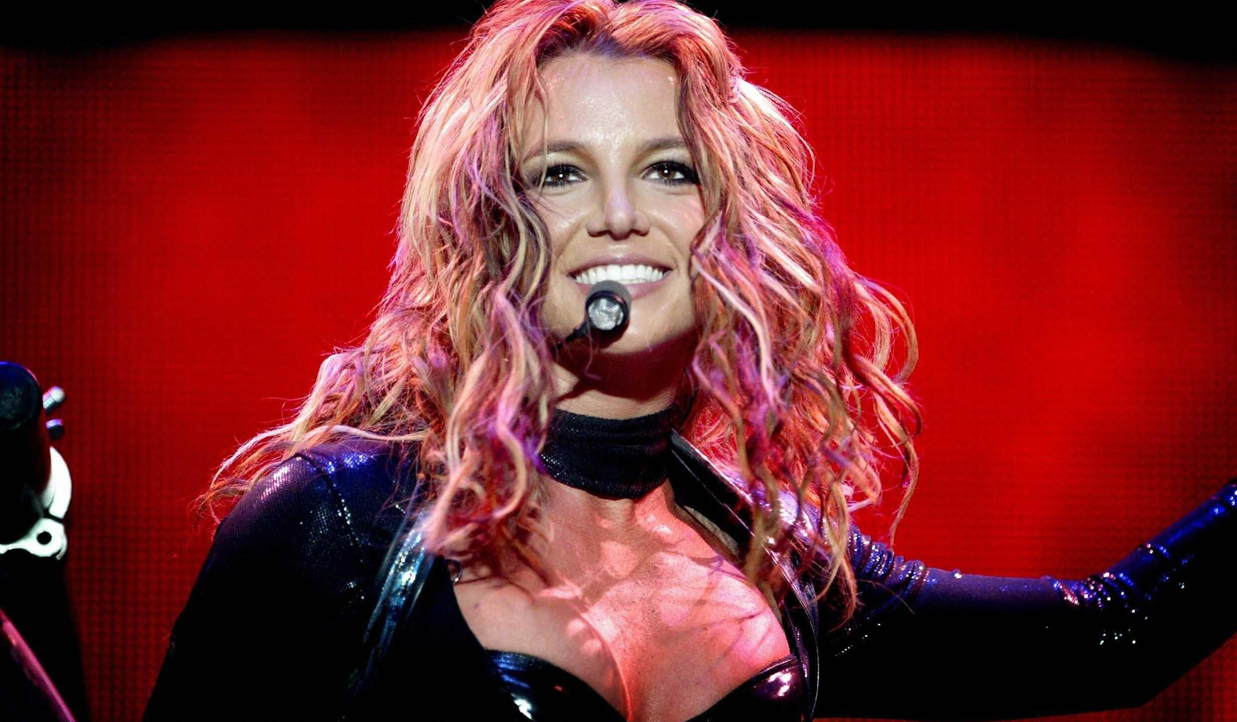 Britney Spears performs in Rotterdam, the Netherlands, on May 7, 2004. (AFP via Getty Images)