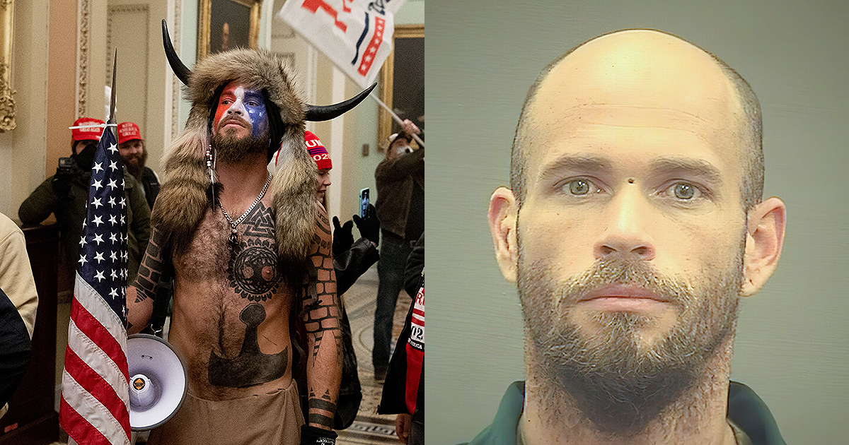 Jacob Chansley at the Capitol and in jail. (Photo by SAUL LOEB / AFP) /The Alexandria (Va.) Sheriff's Office