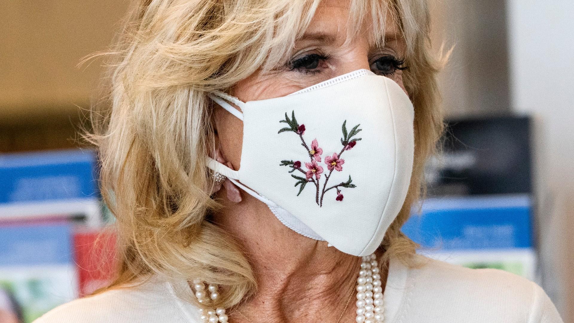 First lady Jill Biden takes a tour of Whitman-Walker Health, Friday, Jan. 22, 2021, in Washington. (AP Photo/Jacquelyn Martin, Pool)