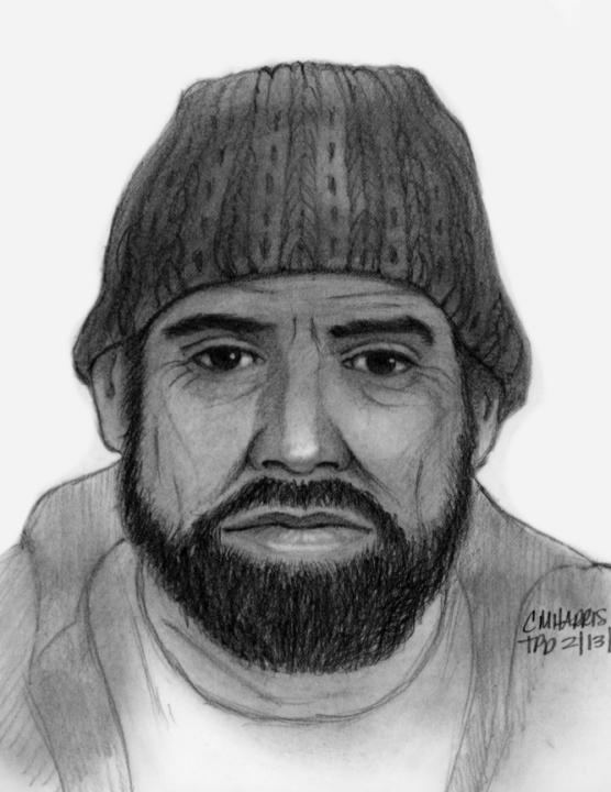 托兰斯警察局在2021年2月15日公布了这幅素描,画的是一名男子在曼哈顿海滩对一名少年做出的猥亵行为。(photo:KTLA)