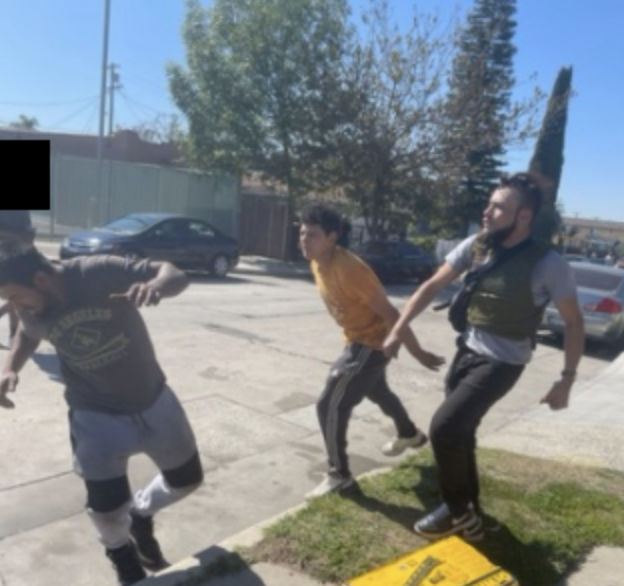 Three men authorities believe were involved in a hit-and-run crash in South Los Angeles that left a man dead Feb. 24, 2021, appear in this photo released by the Los Angeles Police Department two days after the crash.