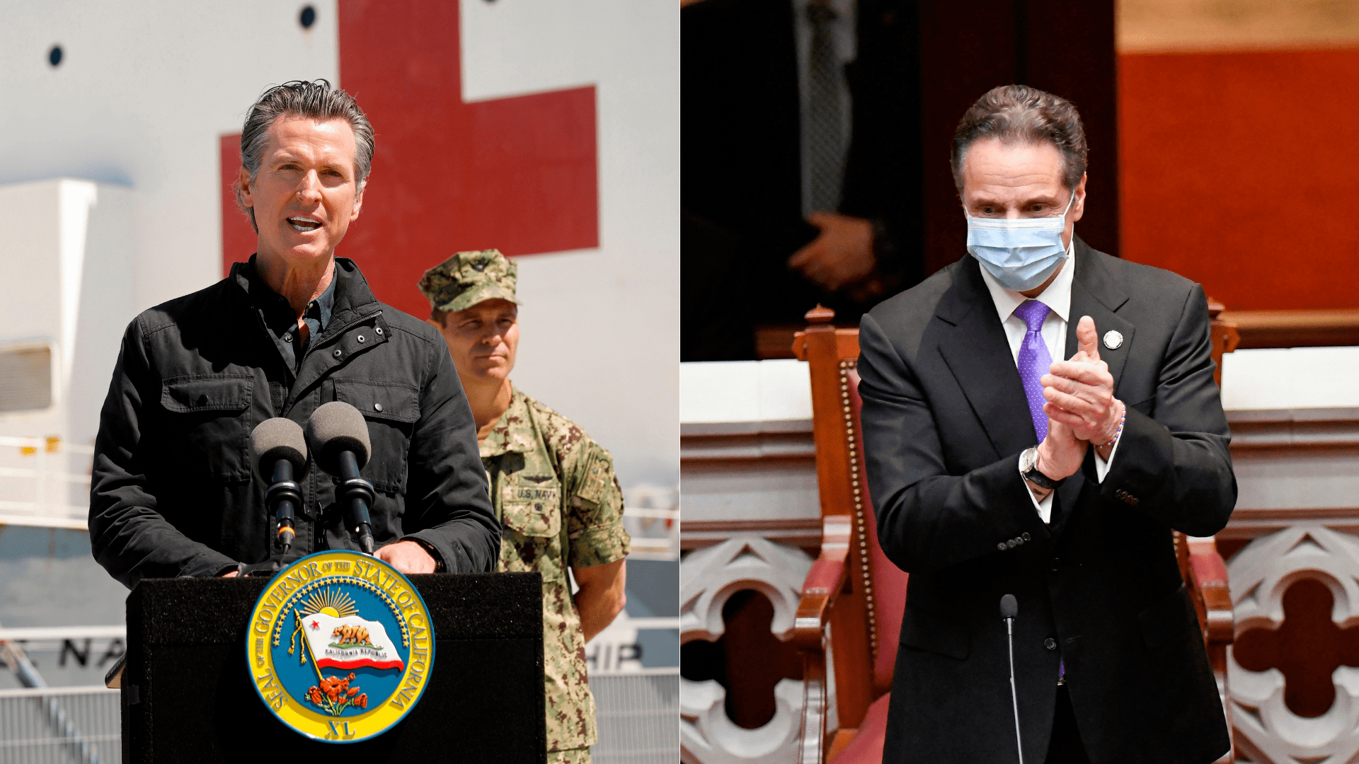 This combination image shows California Gov. Gavin Newsom in front of the hospital ship USNS Mercy after it arrived into the Port of Los Angeles on March 27, 2020 and New York Gov. Andrew Cuomo in the Assembly Chamber at the state Capitol in Albany, New York on Dec. 14, 2020. (CAROLYN COLE/POOL/AFP; HANS PENNINK/POOL/AFP Getty Images)