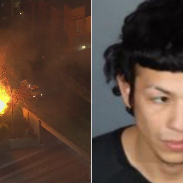 At right, a small brush fire burns along the 101 Freeway in Echo Park on Feb. 19, 2021. At left, arson suspect Edgar Saavedra-Recinos is seen in a booking photo released later that day by the Los Angeles Fire Department. (KTLA / LAFD)
