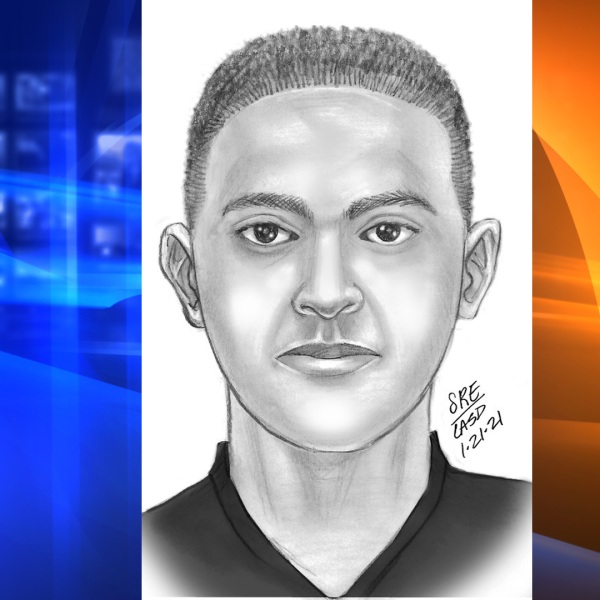 The Los Angeles County Sheriff's Department released this sketch in search of a man who sexually assaulted a woman in West Hollywood on Jan. 21, 2021.