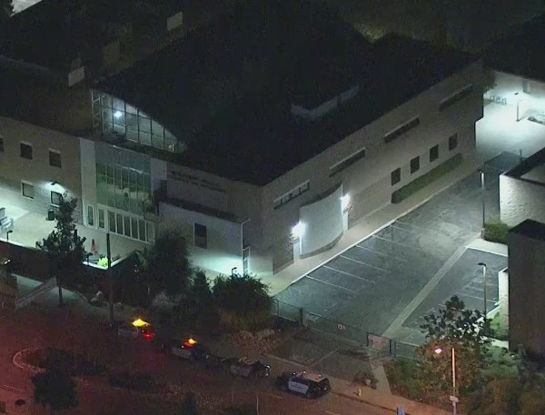 Police vehicles are parked at the Azusa Pacific University campus on Feb. 17, 2020, as authorities investigate a bomb threat and evacuate the campus. (KTLA)