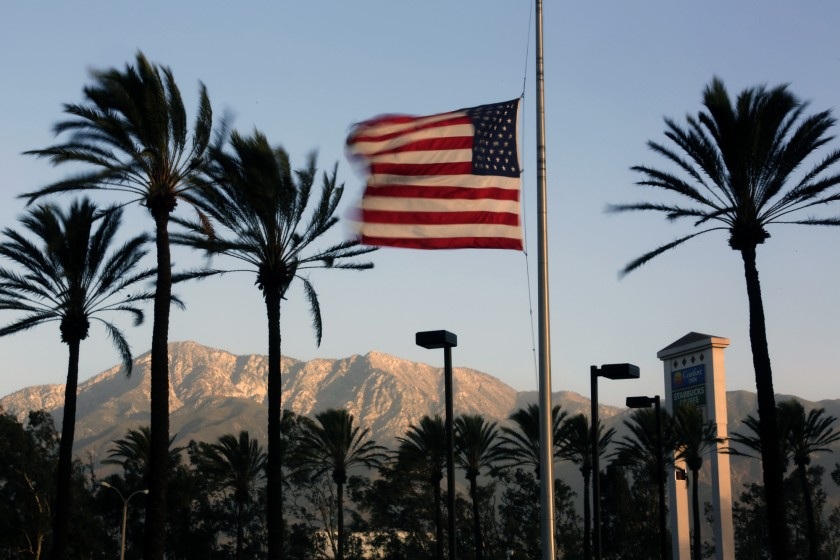 In this file photo, Santa Ana winds whip a flag in Fontana.(Irfan Khan / Los Angeles Times)