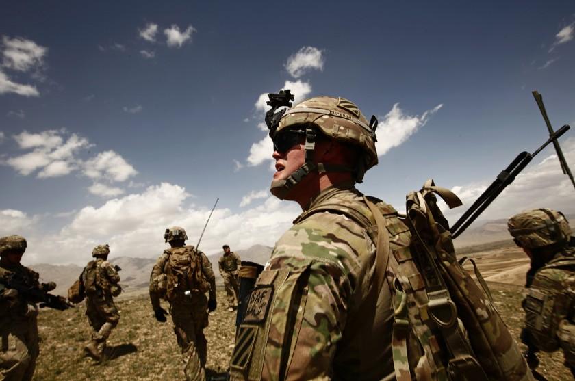 U.S. soldiers on patrol in Afghanistan's Wardak province in 2013.(Carolyn Cole / Los Angeles Times)