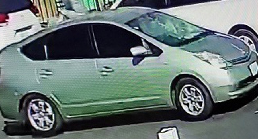 The Los Angeles Police Department is searching for this light green Toyota Prius in connection with a hit-and-run crash on Feb. 21, 2021. (LAPD)