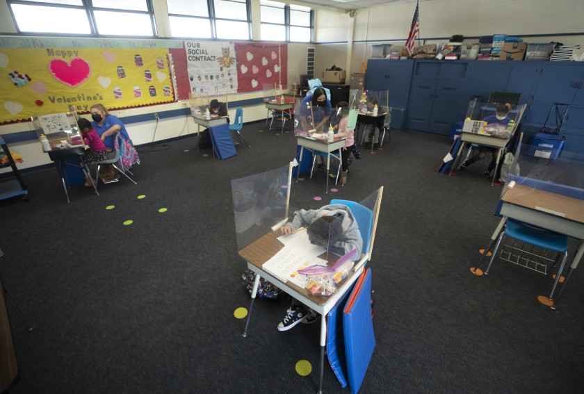 An undated photo shows an after-school enrichment program at Rio Vista Elementary School in El Monte, where students have been unable to take their regular classes on campus. That could soon change if coronavirus infection rates continue to drop. (Myung J. Chun / Los Angeles Times