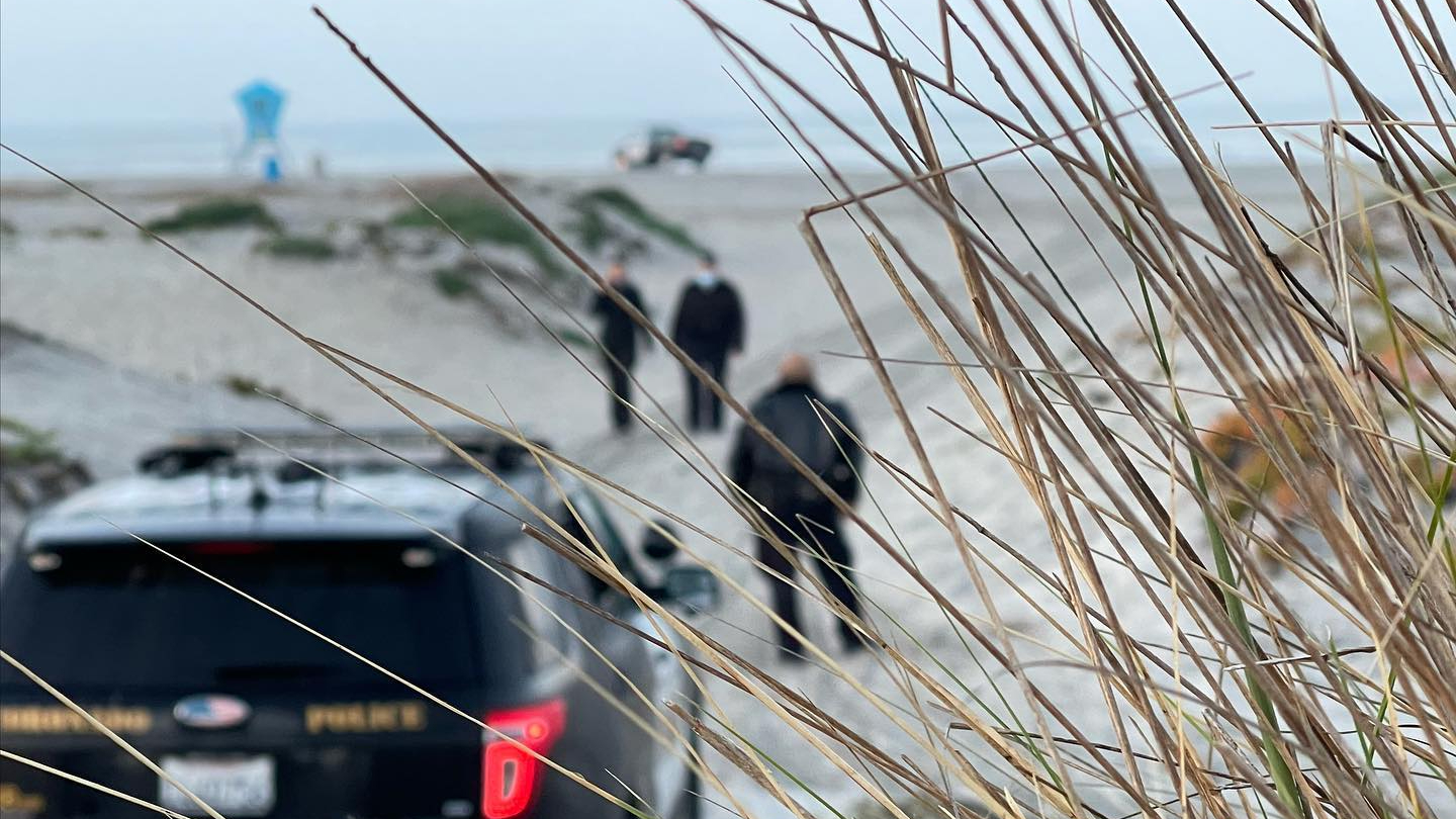 Authorities respond to an attempted homicide investigation on Coronado Beach on Feb. 24, 2021, in an image released by the Coronado Police Department.