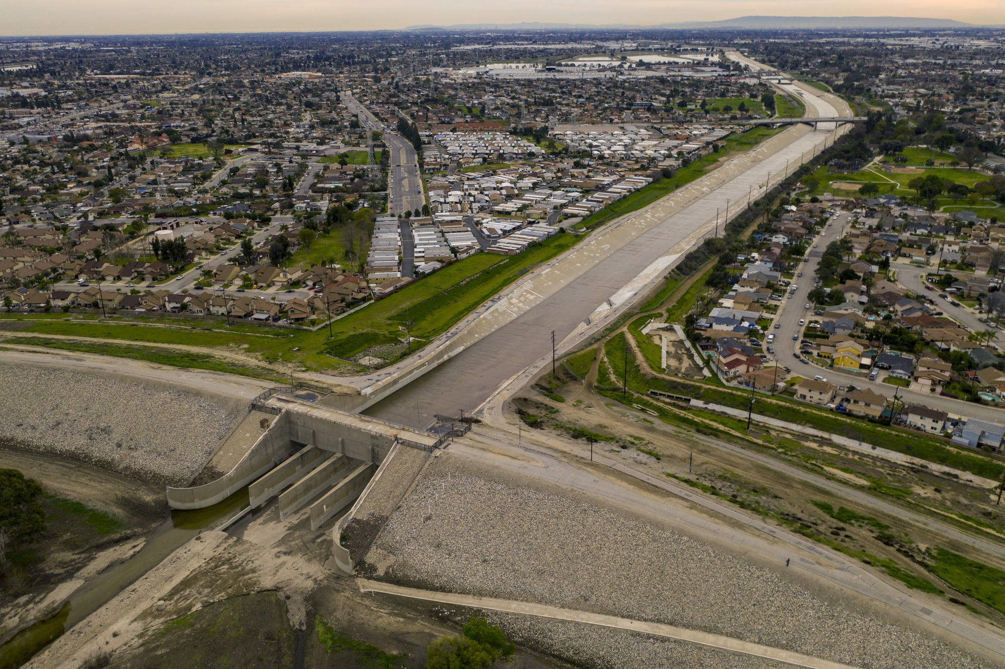 A top federal priority in Southern California is spending an estimated $600 million to upgrade the 62-year-old Whittier Narrows Dam, which is pictured in this undated photo. (Brian van der Brug / Los Angeles Times)