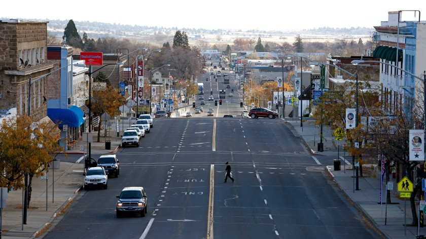 Main Street in Susanville, Calif., where Lassen County had offered its own coronavirus testing clinics until a private company hired by the state took over.(Gary Coronado / Los Angeles Times)