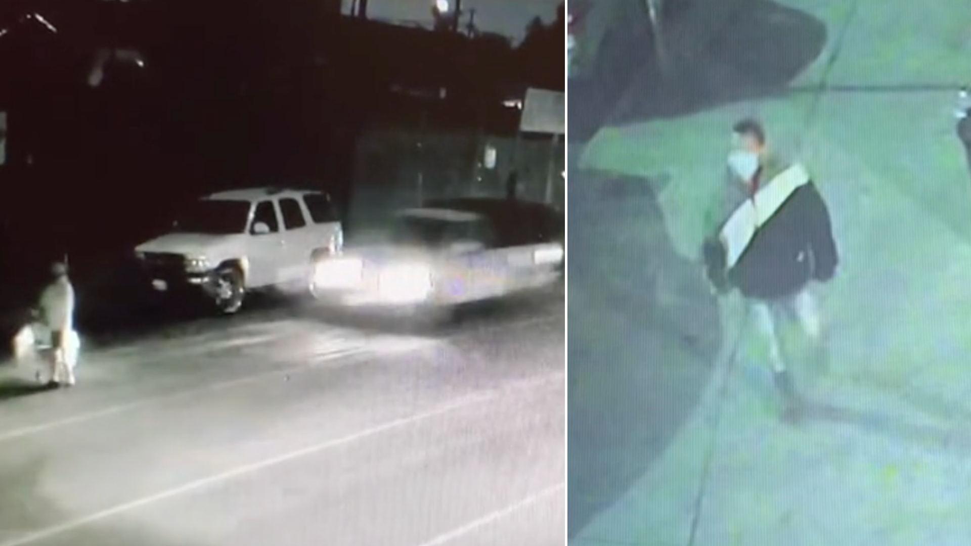 Los Angeles police investigators released these stills from surveillance video showing a woman being struck as she crossed the street and the driver allegedly returning to the scene before fleeing in the Broadway-Manchester neighborhood of South Los Angeles on Feb. 2, 2021.