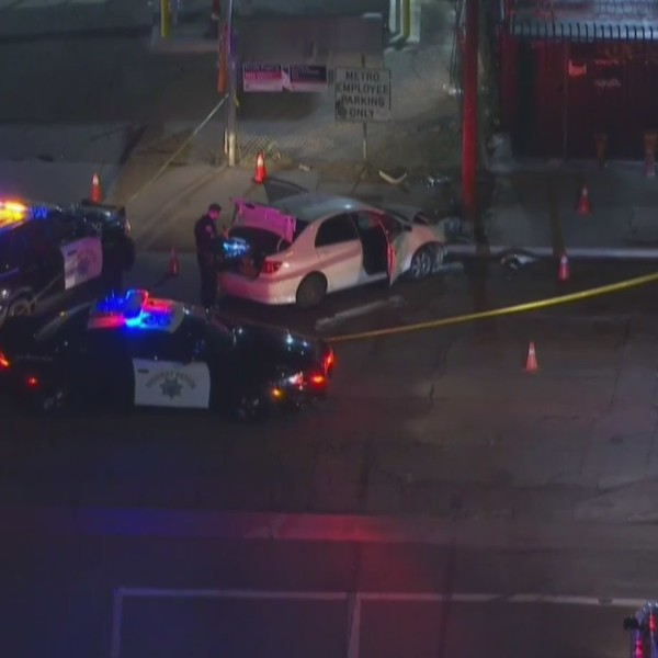 Authorities investigate a possible shooting in downtown Los Angeles on Feb. 17, 2021. (KTLA)