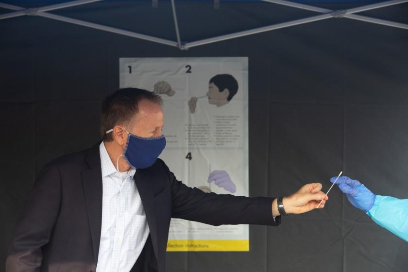 LAUSD Superintendent Austin Beutner takes a coronavirus test in September 2020 at Harry Bridges Span School in Wilmington in September 2020.(Gabriella Angotti-Jones/Los Angeles Times)