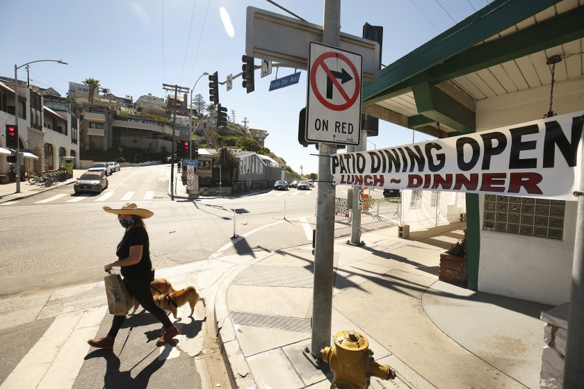 Petria Seymour walks her dogs Tayto and Volpe in Playa Del Rey in this undated photo. (Al Seib / Los Angeles Times)