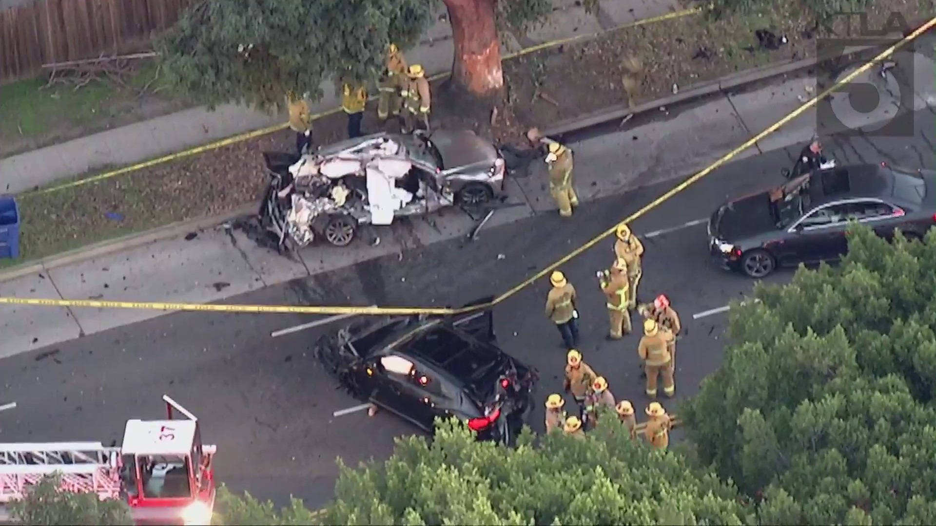 A woman was killed and a teenager was hospitalized in a West Los Angeles car crash on Feb. 17, 2021. (KTLA)
