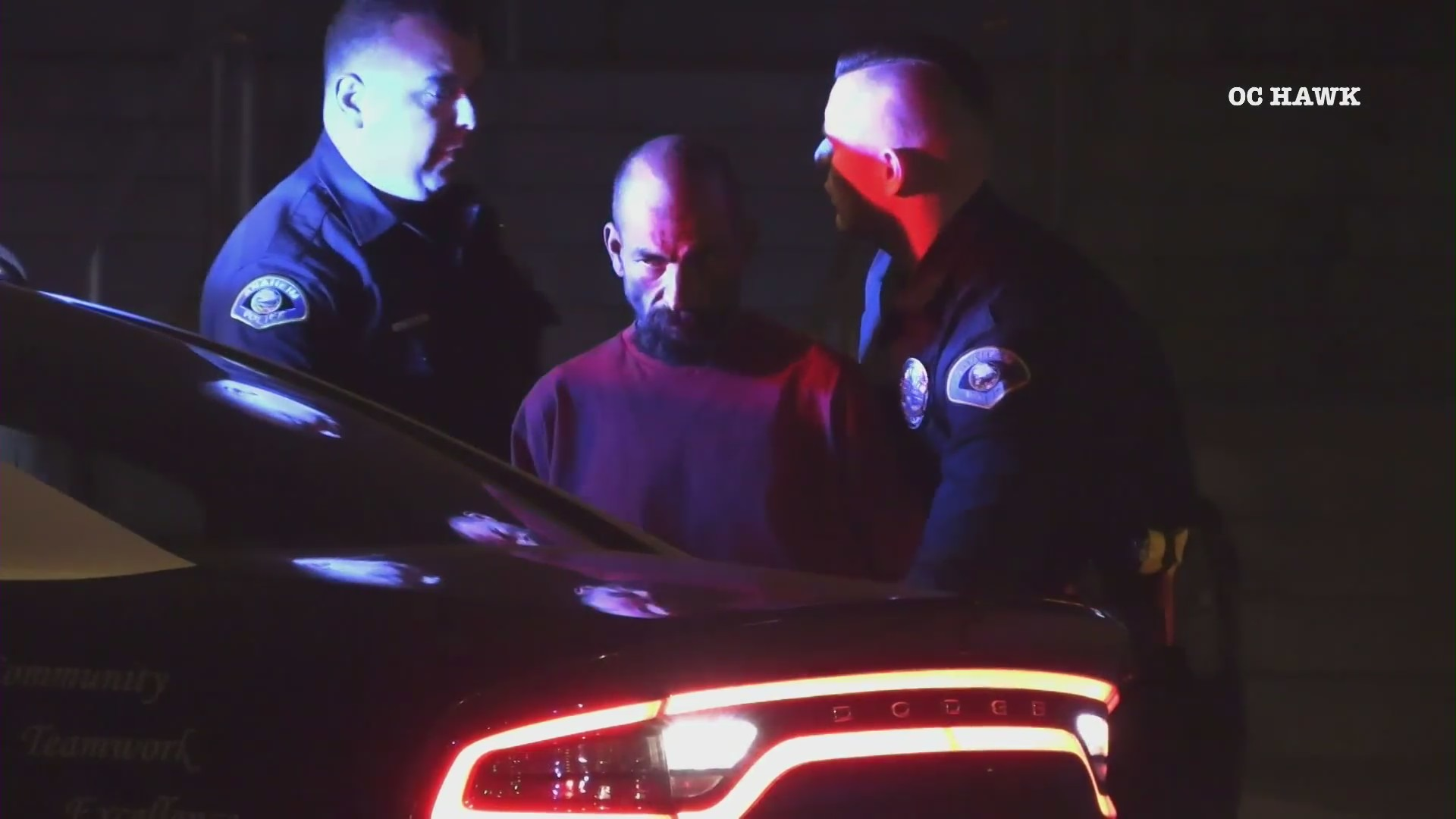 A man is taken into custody following a fatal stabbing in Anaheim on Feb. 25, 2021. (OCHawk).