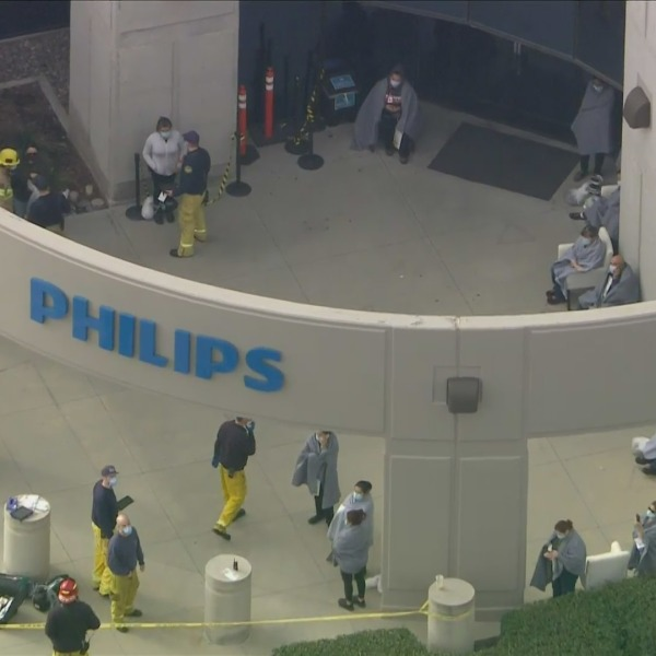 Firefighters respond to a hazmat situation in Ontario on Feb. 4, 2021. (KTLA)