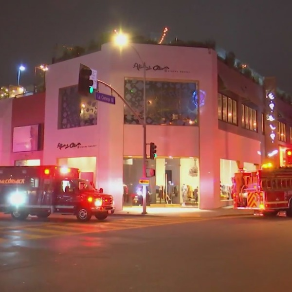 Authorities investigate a man's death outside the E.P. & L.P. restaurant and rooftop bar in West Hollywood on Feb. 12, 2021. (ANG)