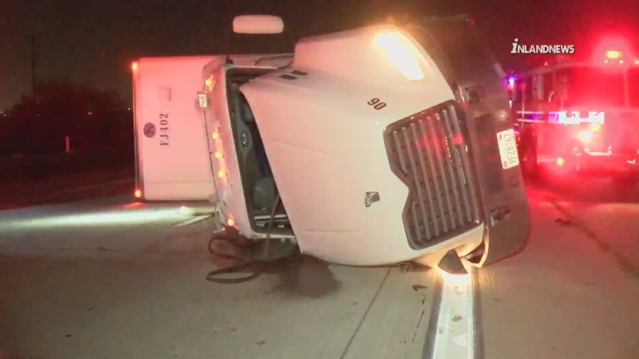 A big rig overturned amid strong winds in Fontana on Feb. 25, 2021. (Inlandnews)
