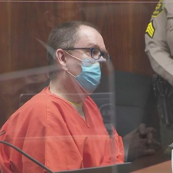 Kenneth Rasmuson is seen in a Pomona courtroom on Feb. 22, 2021. (KTLA)