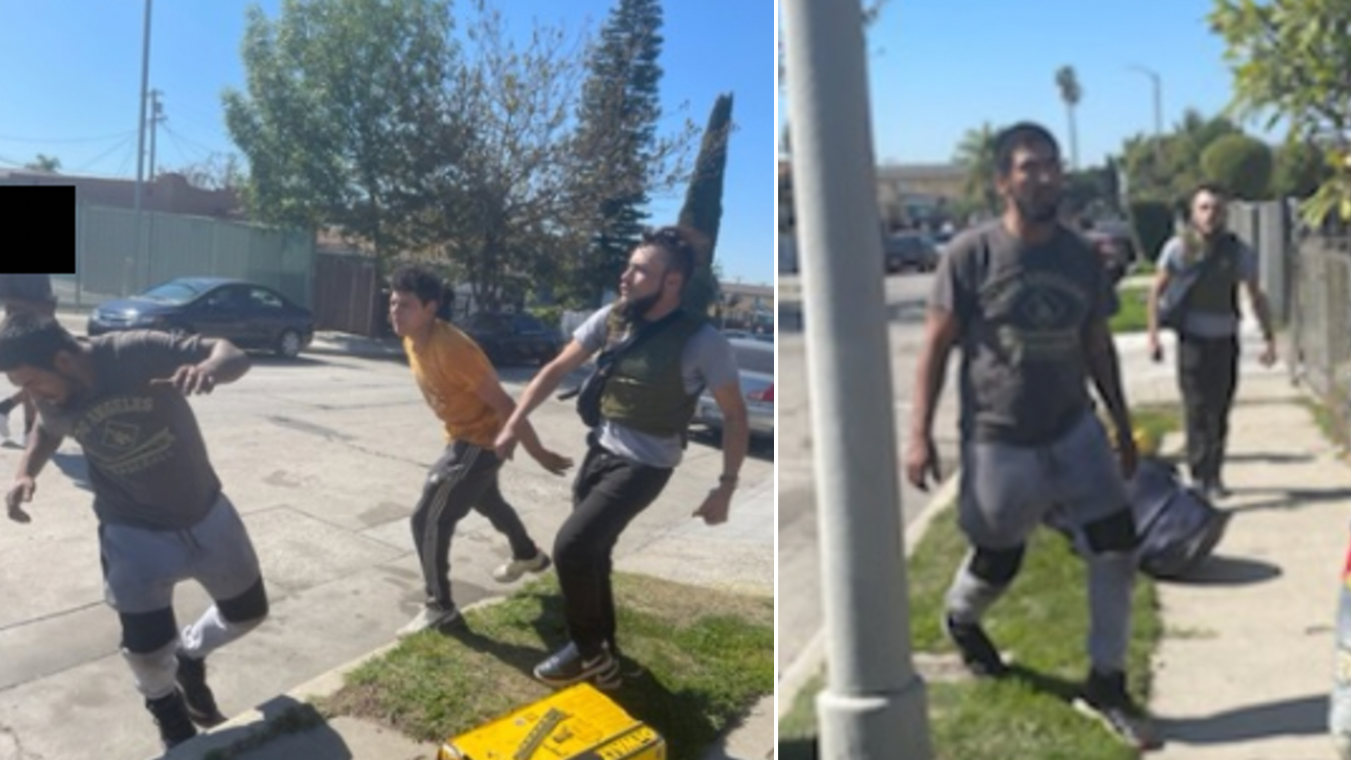 Los Angeles police released these images Feb. 25, 2021, that investigators say show three men leaving the scene of a deadly hit-and-run crash in South Los Angeles on Feb. 24, 2021.