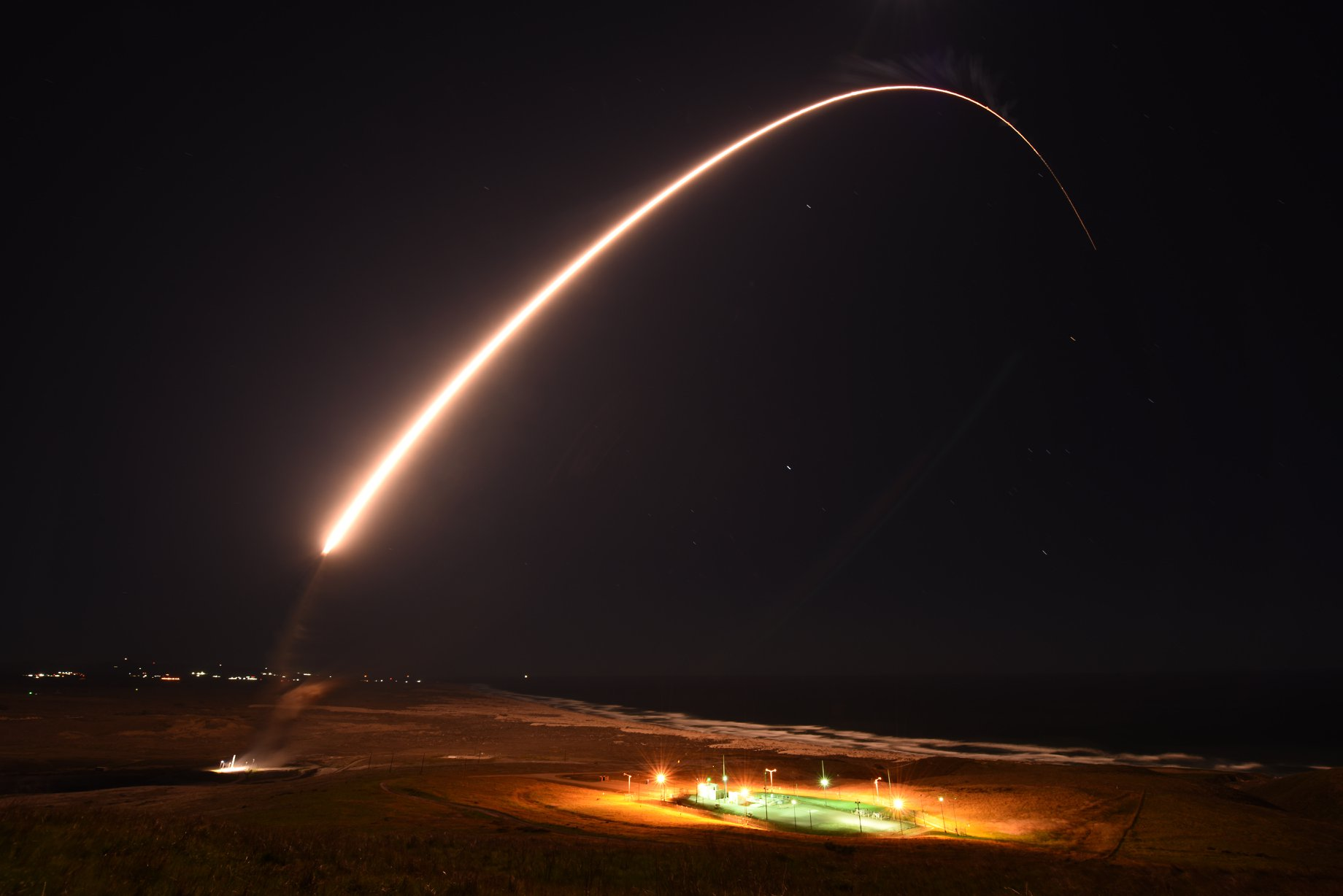 An Air Force Global Strike Command unarmed Minuteman III intercontinental ballistic missile launches during an operation test at at Vandenberg Air Force Base on Feb. 23, 2021. (Vandenberg Air Force Base)